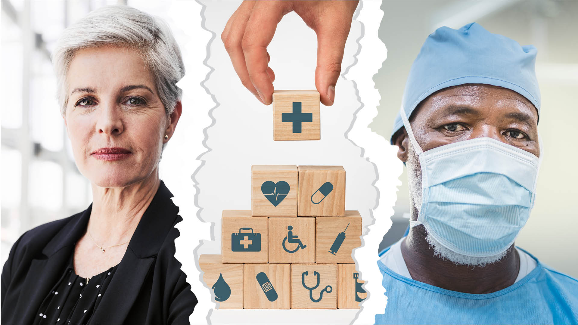 employer and physician torn apart by wooden blocks representing health care insurance